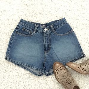 Angels Blue Classic Denim High Waist Shorts - S